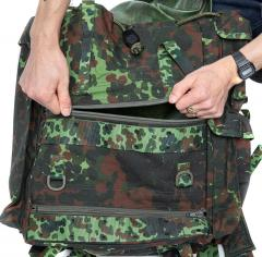 Belgian Paratrooper Pack, Flecktarn, Surplus. The lower compartments have easy access.
