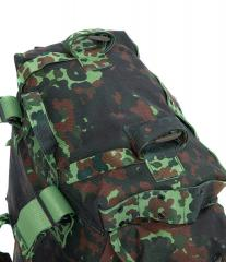 Belgian Paratrooper Pack, Flecktarn, Surplus. A pair of utility straps on the top.