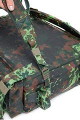 Belgian Paratrooper Pack, Flecktarn, Surplus. The shoulder straps can be removed entirely. The belt is fixed.
