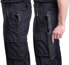 "Dutch Work Pants, Black, Surplus. The pants have ""weapon pockets"" on both sides, which can fit something long an fairly narrow."