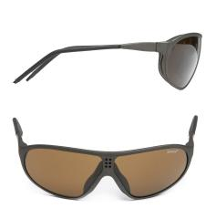Swiss Suvasol Sun Glasses, with Case, Surplus. Lightweight partially rubber-coated polycarbonate frames with rubber nose frames and brown lenses.