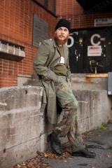 "BW Cargo Pants, Flecktarn, surplus. Lekalooks 2011, Eric. ""I like to dress casually and don't usually mind what others think about me. Dressing like a homeless person will always get you seat in public transport, because you'll look unsanitary."""