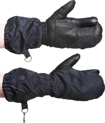 Swiss winter mittens with trigger finger, black, surplus
