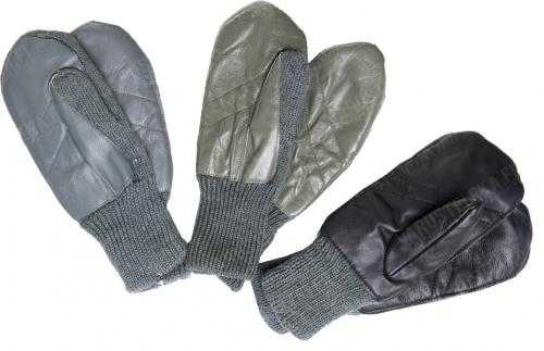 Swiss wool mittens with leather palm, surplus. The colour shades differ.