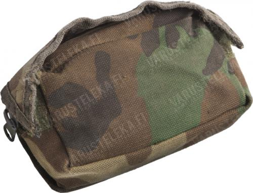 Dutch MOLLE general purpose pouch, tiny, surplus. Some pouches are in Woodland camo.
