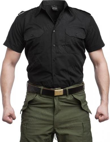 Mil-Tec collared shirt, short sleeve, black
