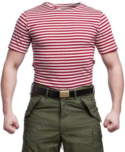 Russian Telnyashka T-shirt, red striped