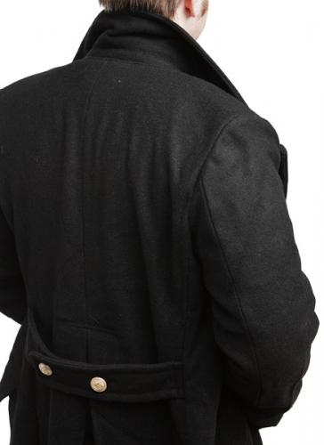 Mil-Tec Navy Greatcoat. The collar popped up for protection