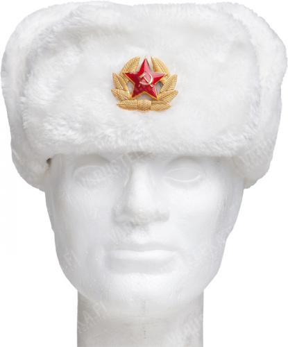 Russian fur hat with Soviet cockade, white