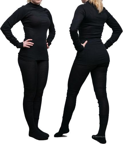 Särmä Merino Wool Long Johns. Model is about 156cm tall, size of the garment is XS