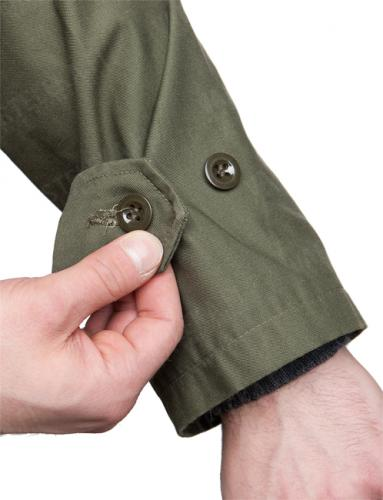 Belgian parka, M88, olive drab, surplus. Button adjustment on the cuffs.