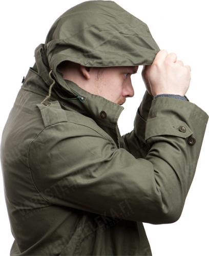 Belgian parka, M88, olive drab, surplus. A simple hood can be conjured out of the collar.