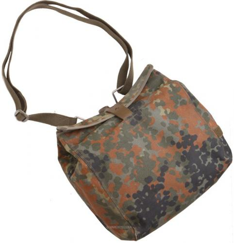 BW Gas Mask Bag, with Carrying Strap, Flecktarn, Surplus