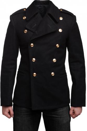 Soviet navy wool coat, black, surplus