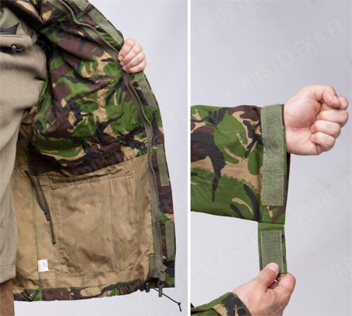British CS95  Windproof Smock, DPM, surplus. These are unlined, which means you can fit anything underneath. The sleeve cuffs have a simple hook and loop adjustment.