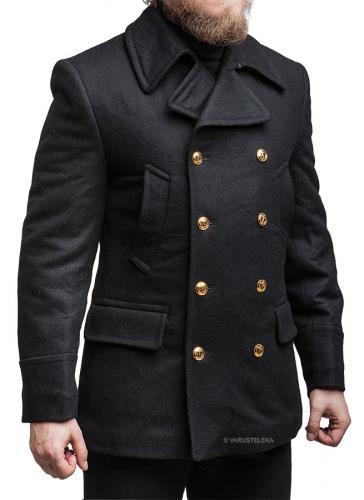 Russian navy wool coat, black, surplus