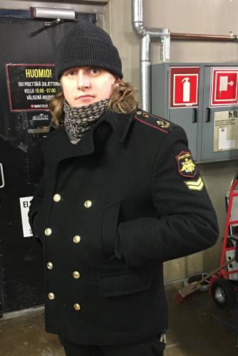 Russian navy wool coat, black, surplus. Sometimes we get these in used condition, usually with flashy insignia!