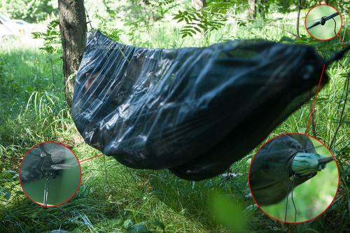DD Hammock SuperLight Mosquito Net. Attachment and adjustment details.