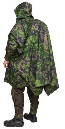 Särmä TST Rain poncho, M05 woodland camo. Vests and even medium sized backpacks fit under the poncho.