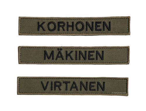 Särmä TST M05 name tag, common names