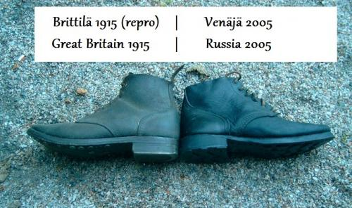 Russian navy shoes, with rubber soles, surplus. The Great War model British boots are only slightly more comfortable!