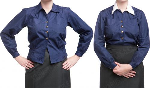 Swedish Women's Collared Shirt, Navy, surplus.