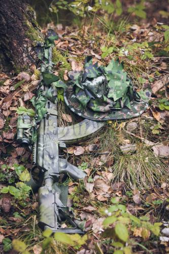 Foxa Action Camo Waterproof Fabric, M05 Woodland, by the meter. Action Camo is great for DIY 3D camouflage bits.