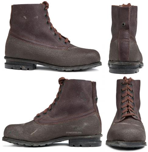 Swedish combat boots, rubber and leather, brown, surplus. Many of the used boots look like this. However the eyelets are usually oxidated. Some boots have seen honest use, but that doesn't really affect their usability.