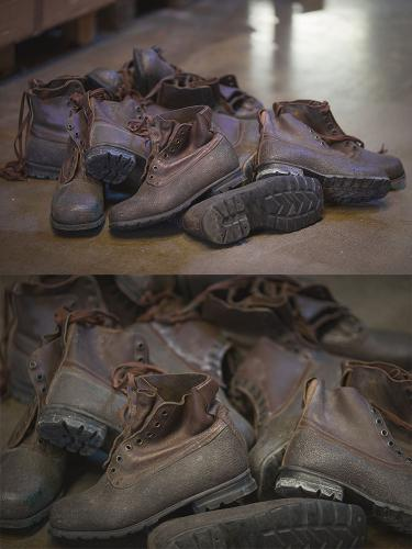 Swedish combat boots, rubber and leather, brown, surplus.