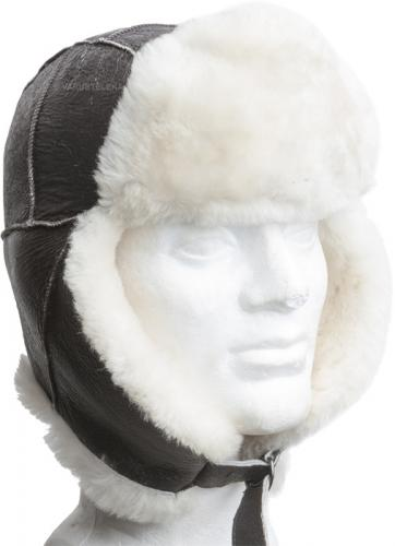 USAF leather fur hat B-3, brown, repro