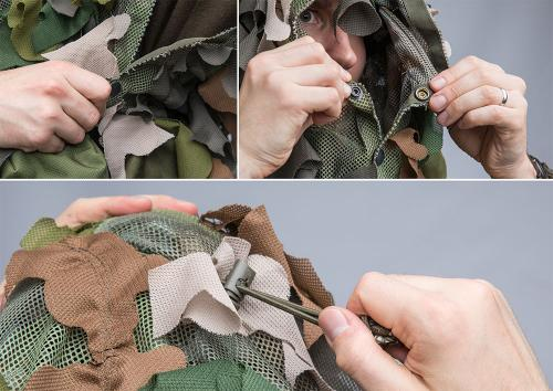 Snigel Design Ghillie Cloak 14. Press studs that close to form the collar and arm holes, shock cord for keeping the cloak on your head.