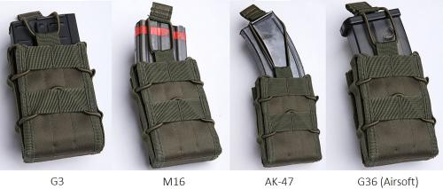 Mil-Tec open top magazine pouch, single. Different mags fit inside with a varying degree of, uh, fittiness.