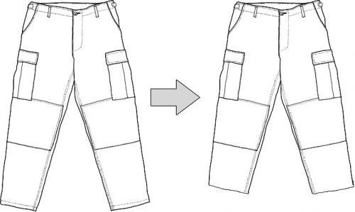 Tailoring, trouser leg shortening