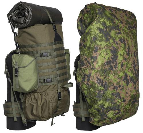 Särmä TST Backpack cover. 110L over a Särmä TST RP80 recon pack with side pouches and sleeping mat on top.