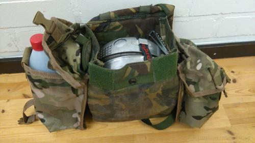 British PLCE gas mask bag, DPM, surplus. A camping kitchen carried in one package. Two extra MTP pouches were attached to the sides in the best DIY fashion.