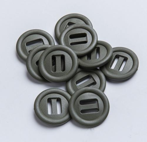 2M Slotted button, 10 pcs. 25 mm, green