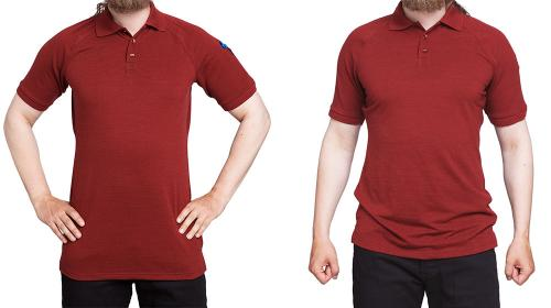Särmä Polo Shirt, Merino Wool. Here's a 175 cm tall boy with a 96 cm chest, shirt size is Medium. On the left the hem is stretched out to full length, on the right it hangs naturally.