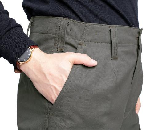 BW Moleskin trousers. Good basic pockets. Note the wide belt loops.