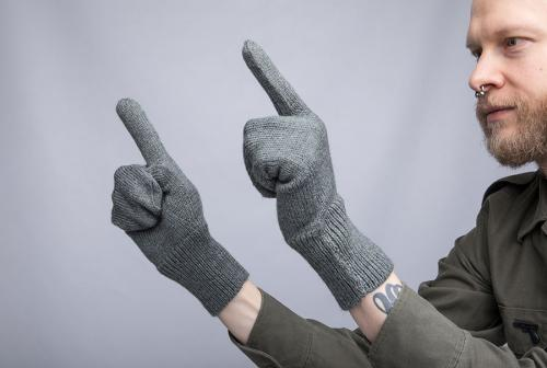 Swiss wool mittens with trigger finger, surplus.