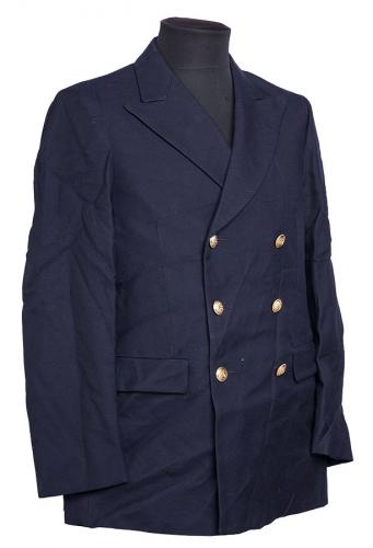 Italian pea coat, wool gabardine, navy blue, surplus