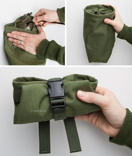 Särmä TST Dump pouch. A common zip-tie can be inserted into the pouch to act as a stiffener.