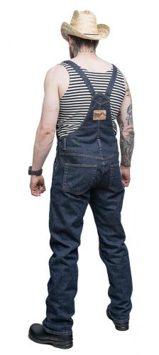 Särmä Denim Overalls. Model's height 183 cm, chest 114 cm, waist 90 cm, with size Medium overalls.