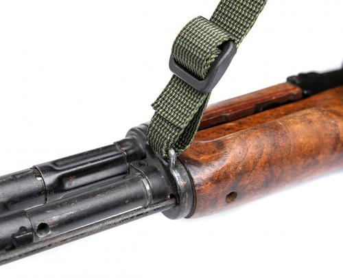 "Särmä TST 2P-RK Quick-Adjust Rifle Sling. The 25 mm (1"") webbing can be folded into a C to weave it neatly through AK front sling mounts."
