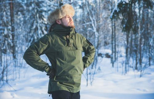 Särmä Windproof Anorak. In the heat of Finnish summer you'll manage with light clothing as seen here.