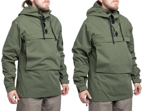 Särmä Windproof Anorak. Size comparison: model's size Medium, with size Medium anorak on the left and size Large on the right.