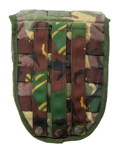 Dutch MOLLE E-tool pouch, surplus. Hinder part has three straps.