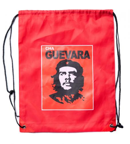 "Cha Guevara drawstring bag, surplus. The measurements flat are 34 x 42 cm (about 13.5"" x 16.5""). The bag in this picture is a symbol for the empty promises of communism."