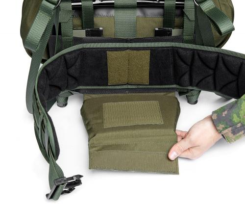 Särmä TST RP80 recon pack. The hip belt can be tucked away behind the cushion.