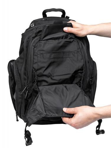 CamelBak Urban Assault Pack, black, with water bottle, surplus. A peek under the beavertail.