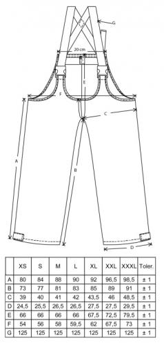 Finnish M13 rain trousers. Dimensions of the garment in centimetres. These are NOT user's recommended measurements.